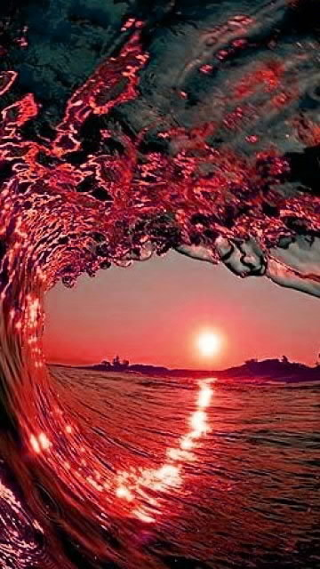Red wave in sunset