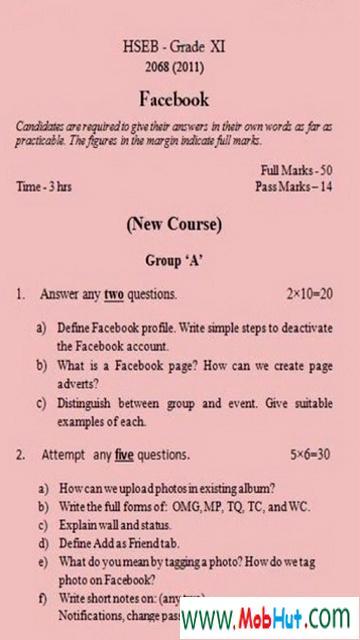 Facebook exam
