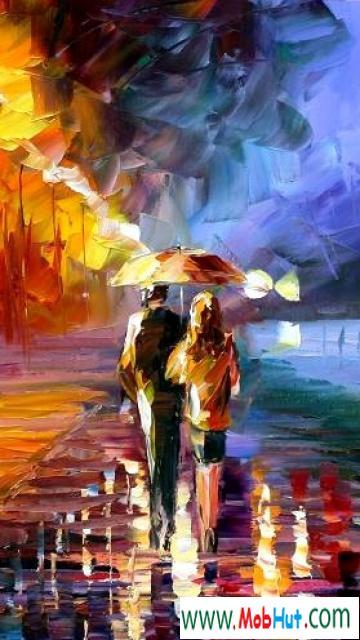 Couple in rain art