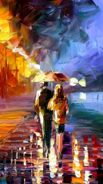 Couple in rain art