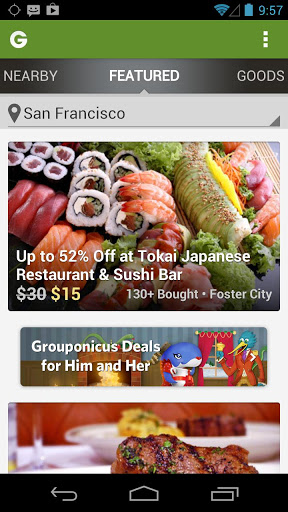 Groupon daily deals, coupons